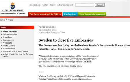 VN lấy làm tiếc trước quyết định Thụy Điển đóng cửa sứ quán